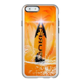 Diseño tropical, tabla hawaiana con la palma funda para iPhone 6 plus incipio feather shine