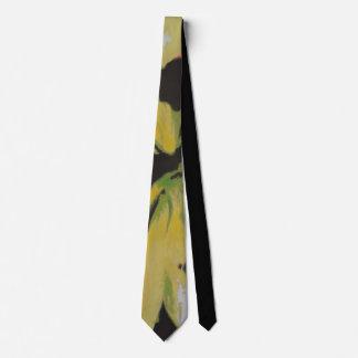 diseño único amarillo y blanco negro abstracto corbata personalizada