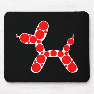 Diseño único del globo rojo del perro mousepads