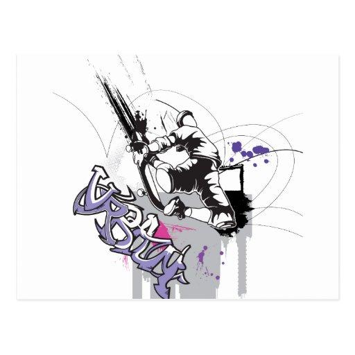 diseño urbano de la pintada de sk8er tarjetas postales