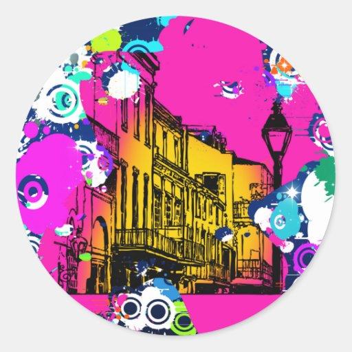 diseño urbano de la salpicadura de la pintura de pegatina redonda