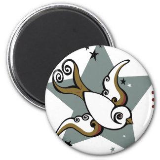 Diseño urbano del pájaro del trago del tatuaje imán redondo 5 cm