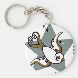 Diseño urbano del pájaro del trago del tatuaje llavero redondo tipo pin