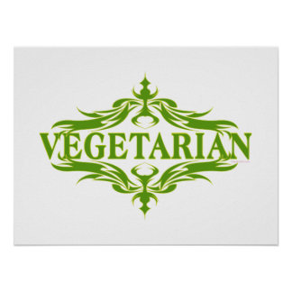 Diseño vegetariano bonito posters
