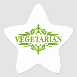 Diseño vegetariano bonito pegatina en forma de estrella