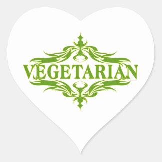 Diseño vegetariano bonito pegatina en forma de corazón
