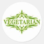 Diseño vegetariano bonito pegatina redonda