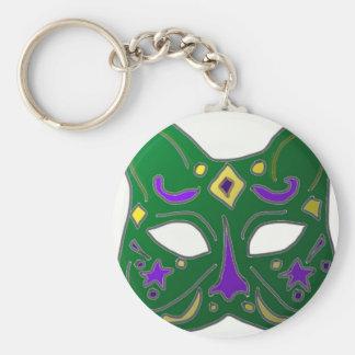 Diseño veneciano verde de la máscara del gato llavero redondo tipo pin