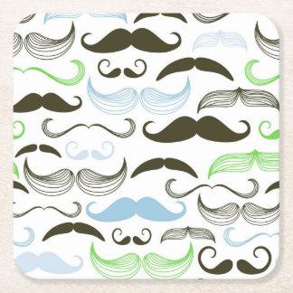 Diseño verde, azul y negro del bigote posavasos desechable cuadrado