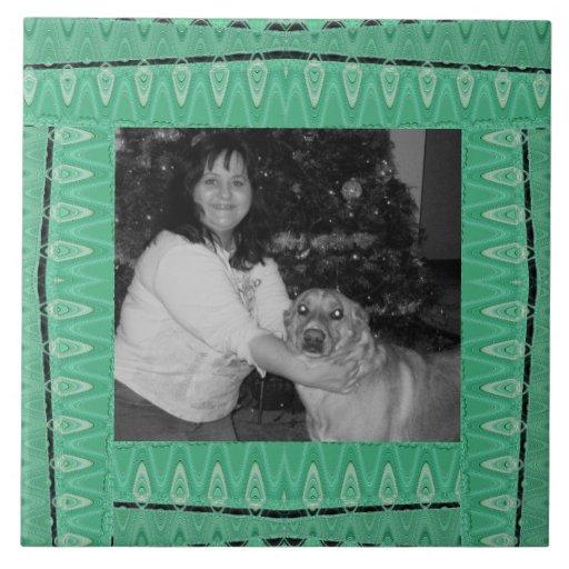 diseño verde claro del photoframe azulejo cuadrado grande