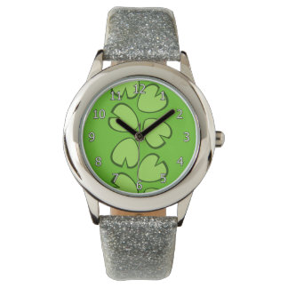 Diseño verde claro lindo de las hojas del cojín de reloj