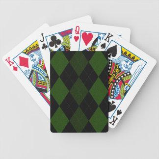 Diseño verde de Argyle del vintage Baraja Cartas De Poker