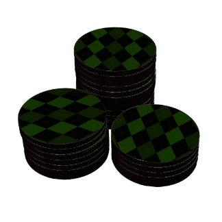 Diseño verde de Argyle del vintage Juego De Fichas De Póquer
