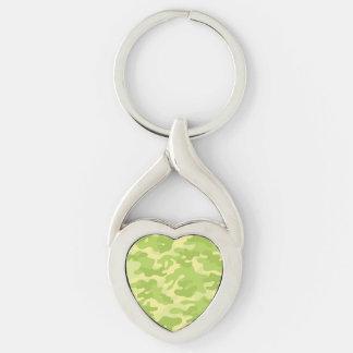 Diseño verde de Camo Llavero Plateado En Forma De Corazón