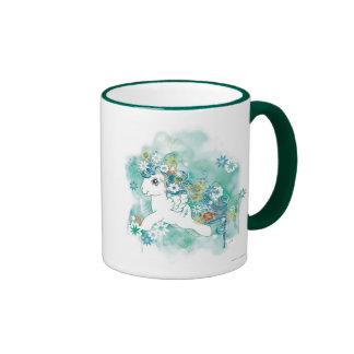 Diseño verde de la acuarela tazas de café