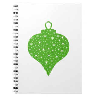 Diseño verde de la chuchería del navidad libreta espiral