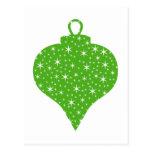 Diseño verde de la chuchería del navidad postales