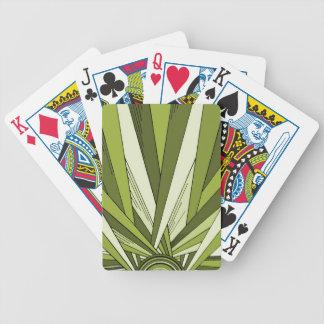 Diseño verde de la salida del sol del art déco baraja cartas de poker