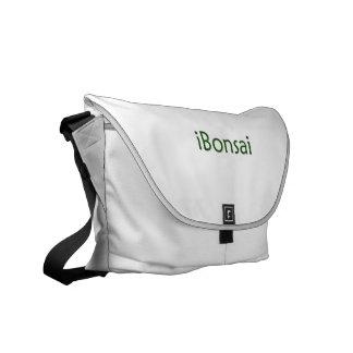 diseño verde de los bonsais del texto del iBonsai Bolsa De Mensajeria