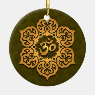 Diseño verde de oro floral de Aum Ornamento Para Reyes Magos