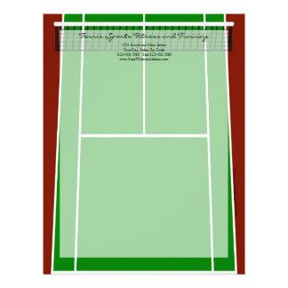 Diseño verde del campo de tenis membrete personalizado
