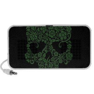 Diseño verde del cráneo de las flores y de las vid mini altavoces