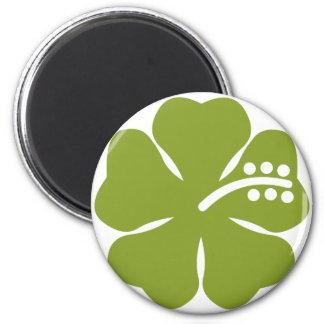 diseño verde del hibisco imán redondo 5 cm
