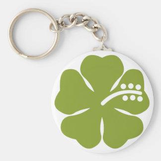 diseño verde del hibisco llavero