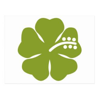 diseño verde del hibisco tarjeta postal