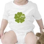 diseño verde del hibisco trajes de bebé