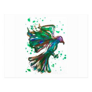 Diseño verde del pájaro del Watercolour de la Postal