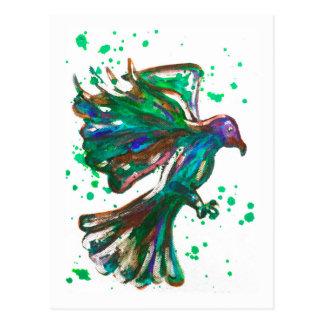 Diseño verde del pájaro del Watercolour de la Postales