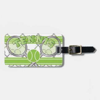 Diseño verde del tenis etiquetas para maletas
