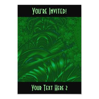 """Diseño verde elegante del arte abstracto. Fractal Invitación 5"""" X 7"""""""