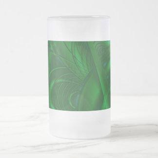 Diseño verde elegante del arte abstracto. Fractal Tazas