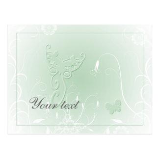 Diseño verde en colores pastel suave de la maripos tarjetas postales