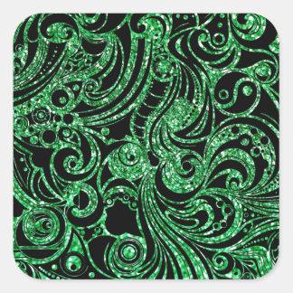 Diseño verde hermoso del brillo del añil pegatina cuadrada