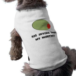 Diseño verde oliva de las camisetas y de los playera sin mangas para perro
