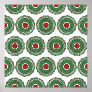 Diseño verde rojo de la guirnalda del navidad del poster