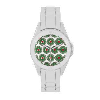 Diseño verde rojo de la guirnalda del navidad del reloj de mano