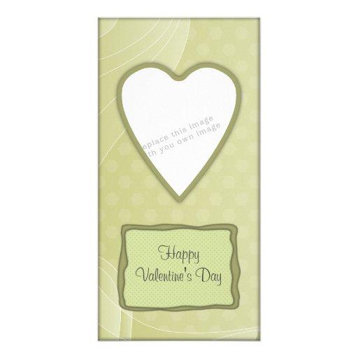 Diseño verde romántico del corazón tarjetas fotográficas
