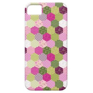 Diseño verde rosado bonito del edredón de remiendo iPhone 5 funda