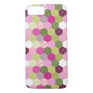 Diseño verde rosado bonito del edredón de remiendo funda iPhone 7