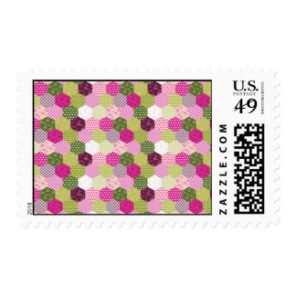 Diseño verde rosado bonito del edredón de remiendo sellos