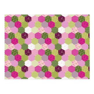 Diseño verde rosado bonito del edredón de remiendo tarjeta postal