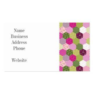 Diseño verde rosado bonito del edredón de remiendo tarjetas de visita