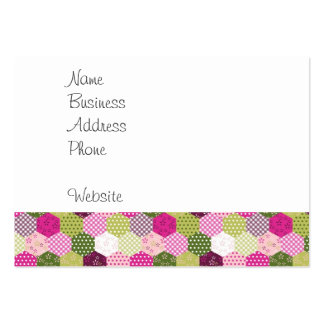 Diseño verde rosado bonito del edredón de remiendo tarjetas de visita grandes