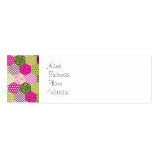 Diseño verde rosado bonito del edredón de remiendo tarjetas de visita mini