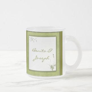 Diseño verde simple del boda taza de cristal