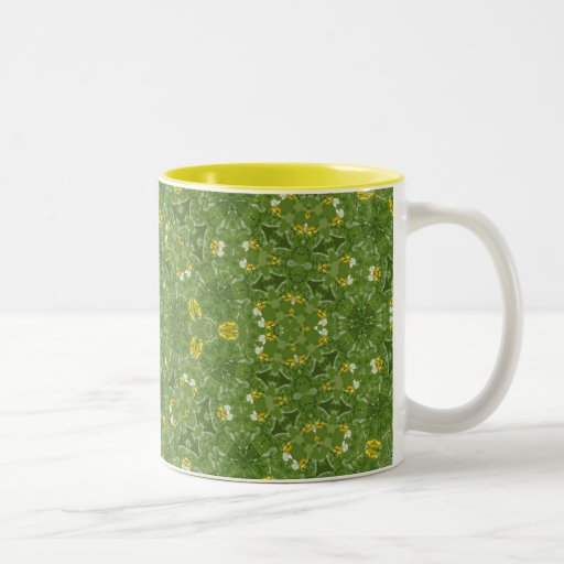 Diseño verde y amarillo del fractal taza de café de dos colores